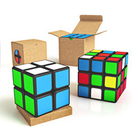 Puzzle Cube Collection 3x3 and 2x2 with Box/ Packaging. 6 3D models total