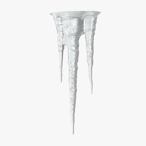 3d model icicles sparkling white ice