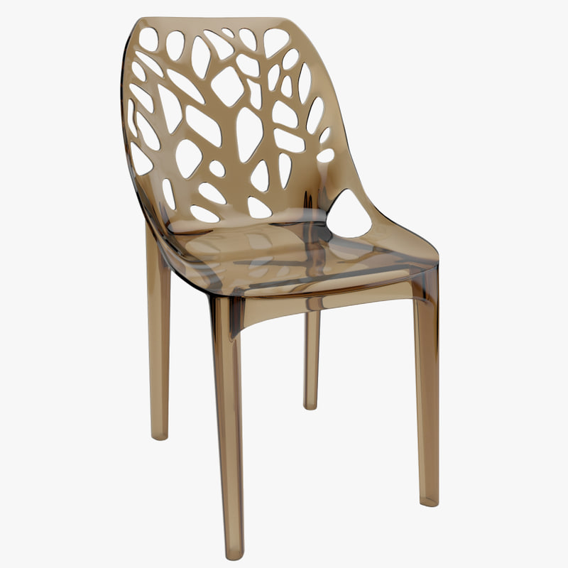 3d tree plastic transparent chair model