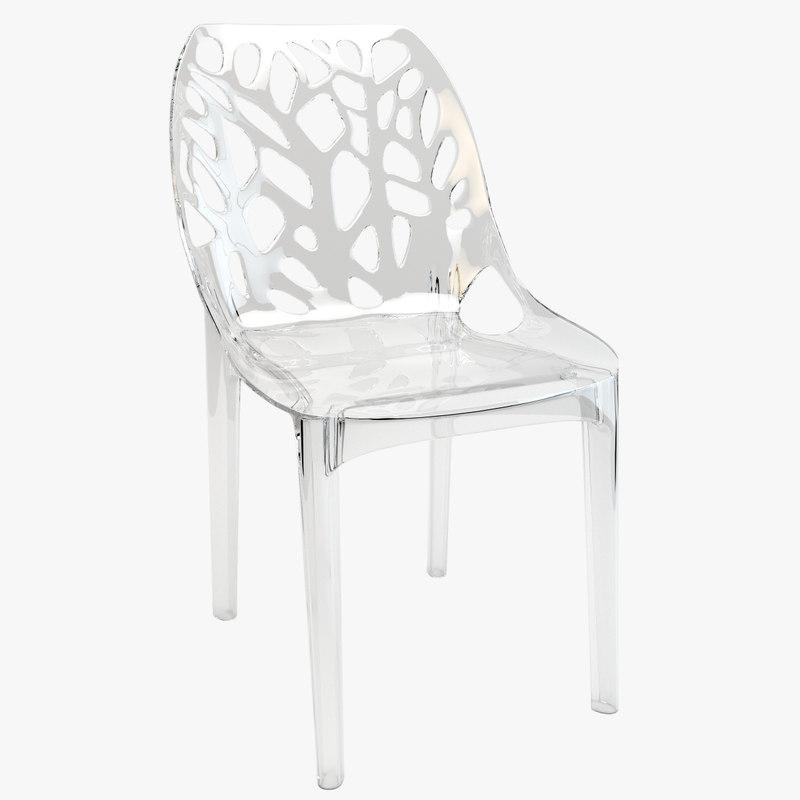 3d tree plastic transparent chair
