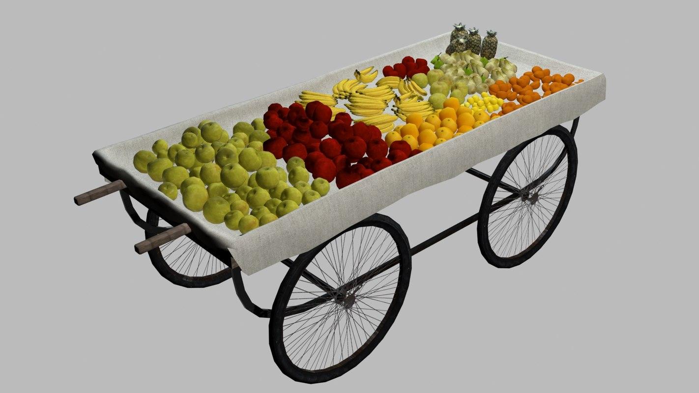 3d model fruit cart