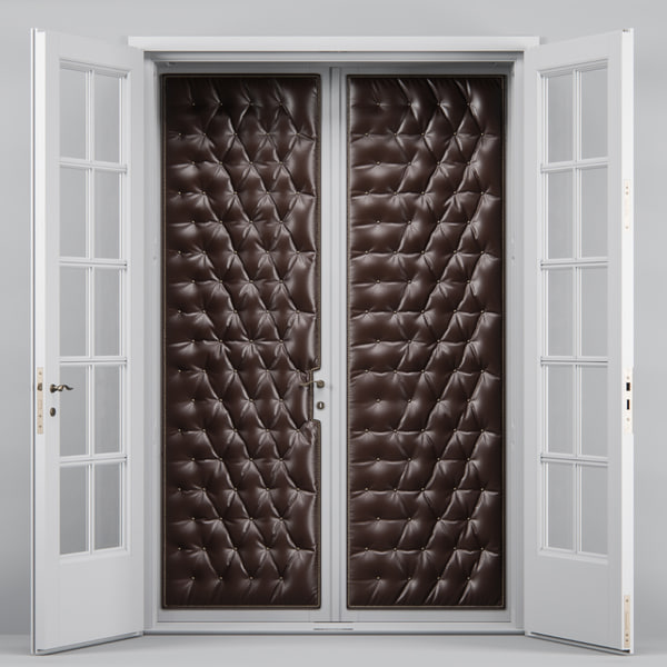 double tufted glass doors max
