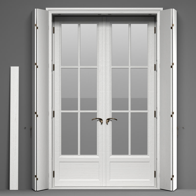 3d Model Double Glass Doors Shutters