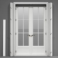 3d model double glass doors shutters