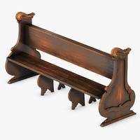 3d model church pew