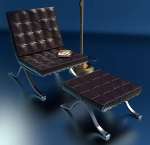 x high-detailed barcelona chair legs