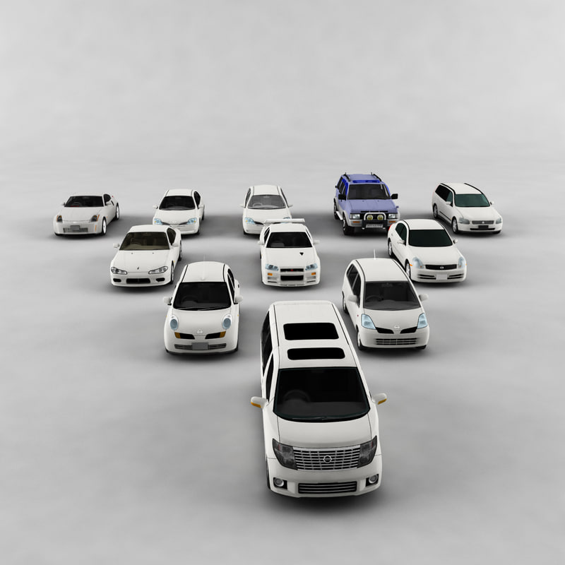 nissan car pack vehicle 3d model