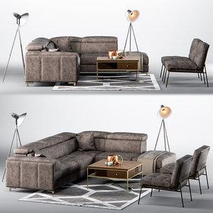 3d model living room setup sofa