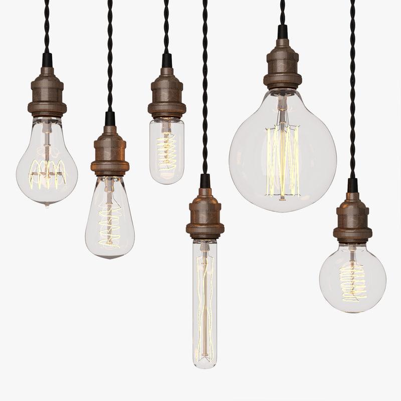 3d model edison light bulb