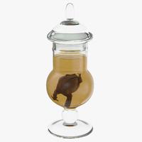 vintage specimen jar frog 3d max