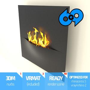 3d fireplace ethanol model
