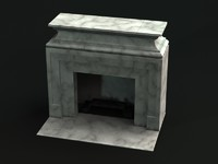 3d marble white fireplace