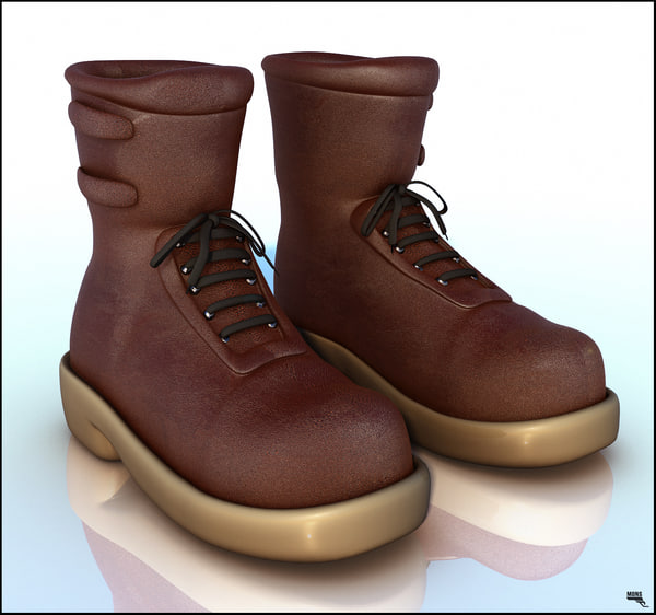 boots leather toon 3d model