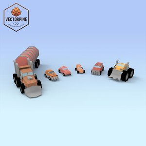 3d model of raider cars
