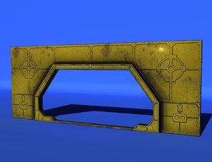 3d obj sci-fi wall entrance