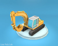 Cartoon Excavator Low Poly