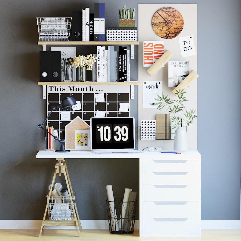 3d office workspace decor model