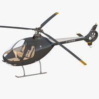 Helicopter Guimbal Cabri G2 Rigged 3D Model