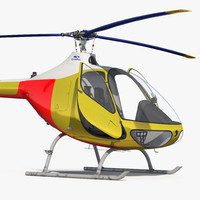 Light Helicopter Generic Rigged 3D Model
