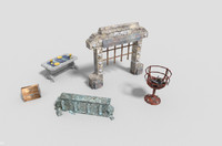 pack 5 dungeon props 3d 3ds