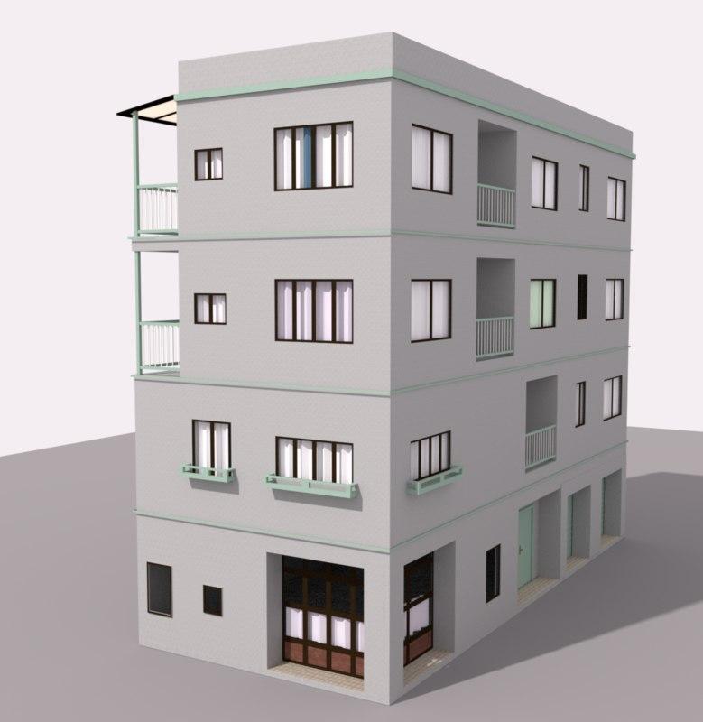 tokyo apartment building obj