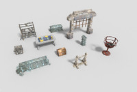 pack 10 dungeon props 3d model