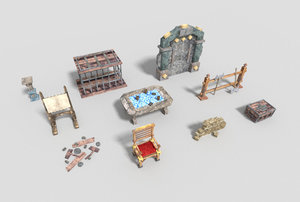 3d model pack 10 dungeon props