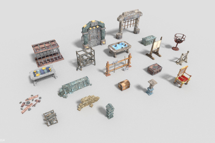 pack 20 dungeon props obj