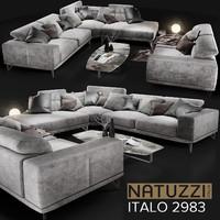natuzzi italo 2983 grey 3d model