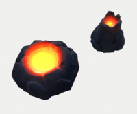 3d model tiny cartoon volcanoes