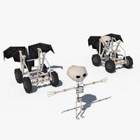 3d skeleton character car