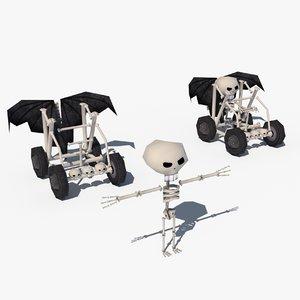 free skeleton character car 3d model