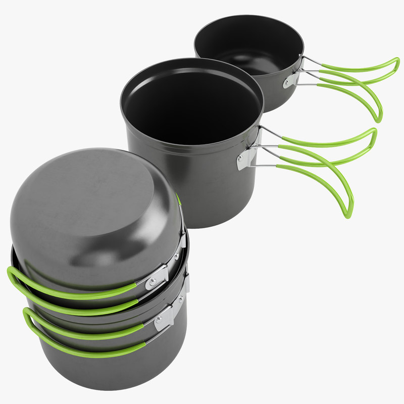 camping cookware cook 3d model
