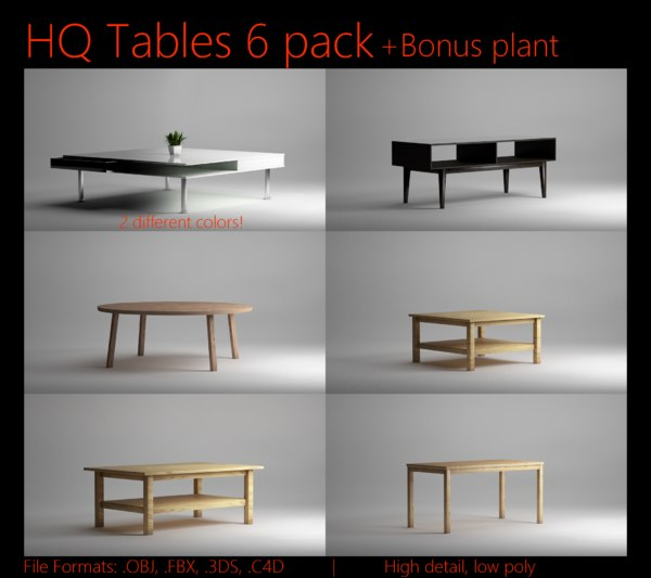 3d wood 6 pack tables model