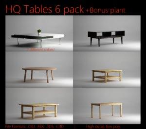 3d wood 6 pack tables model