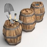 3d model barrel medieval