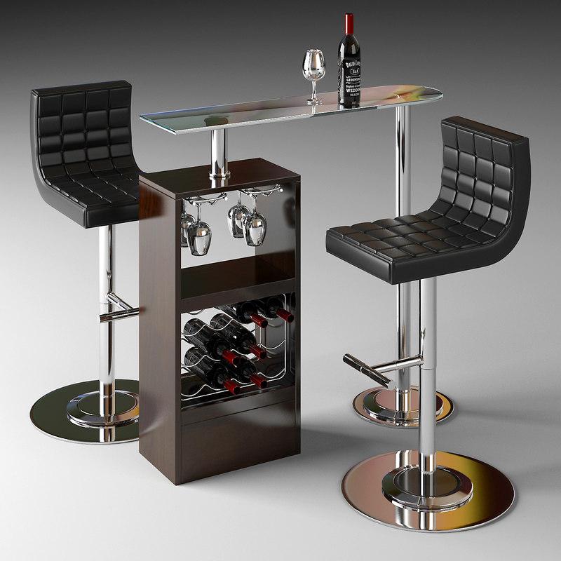bar counter table 3d max