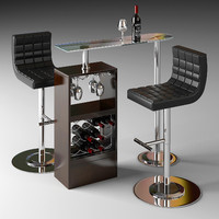 bar counter table 3d max