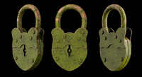 3d model of padlock old lock
