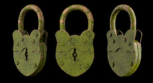 3d model of padlock old lock