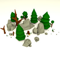 3d forest pack rocks trees