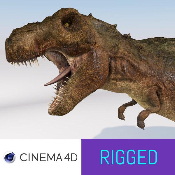 tyrannosaurus rex rigged modeled c4d