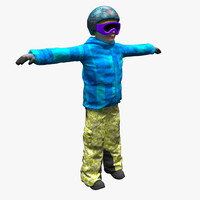 boy clothes ski human 3d model