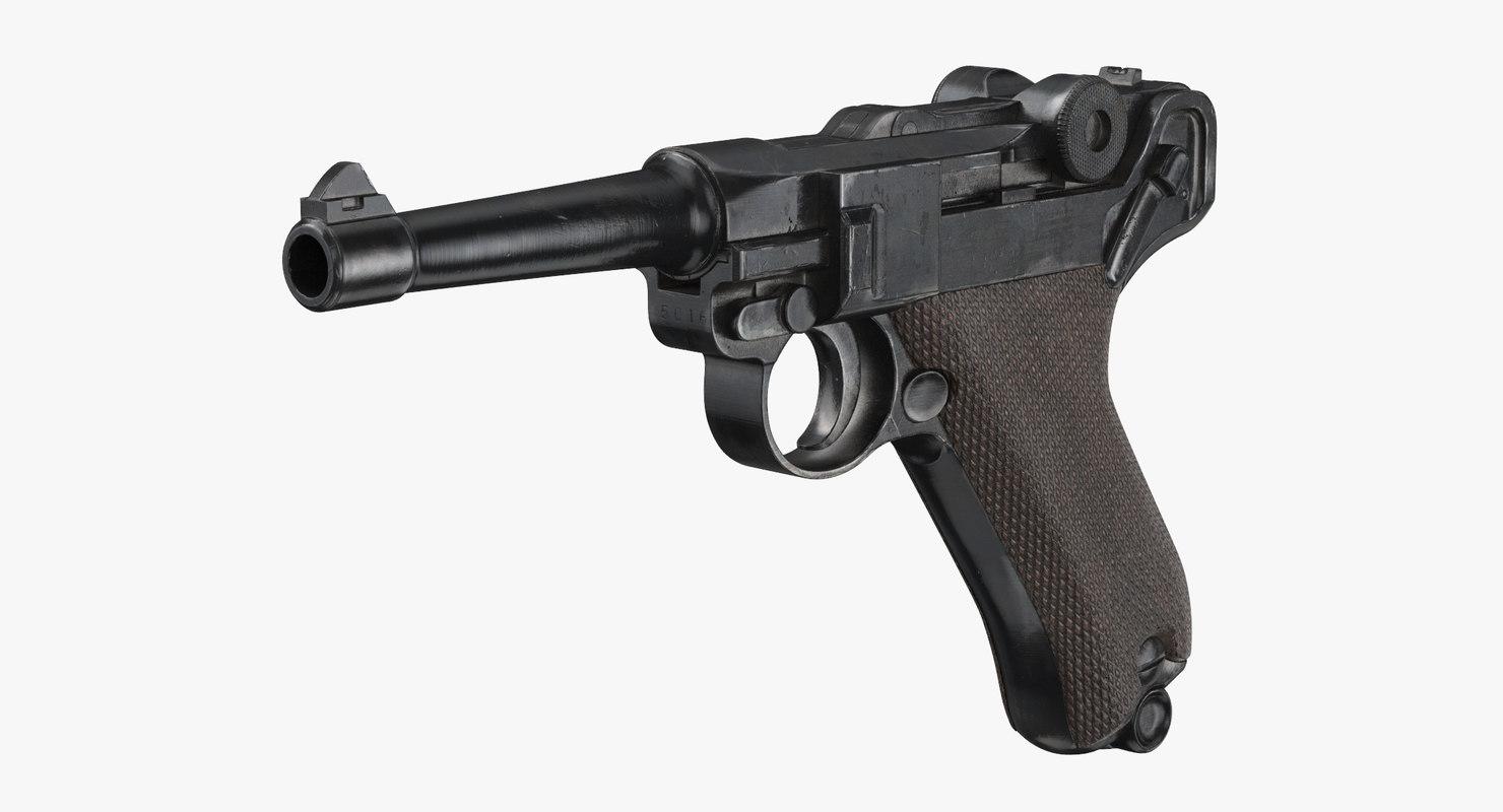 german luger pistol wwii 3d model