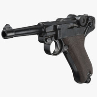 german luger pistol wwii 3d model