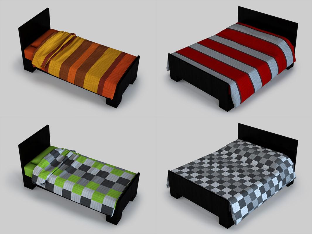 3d model single bed double