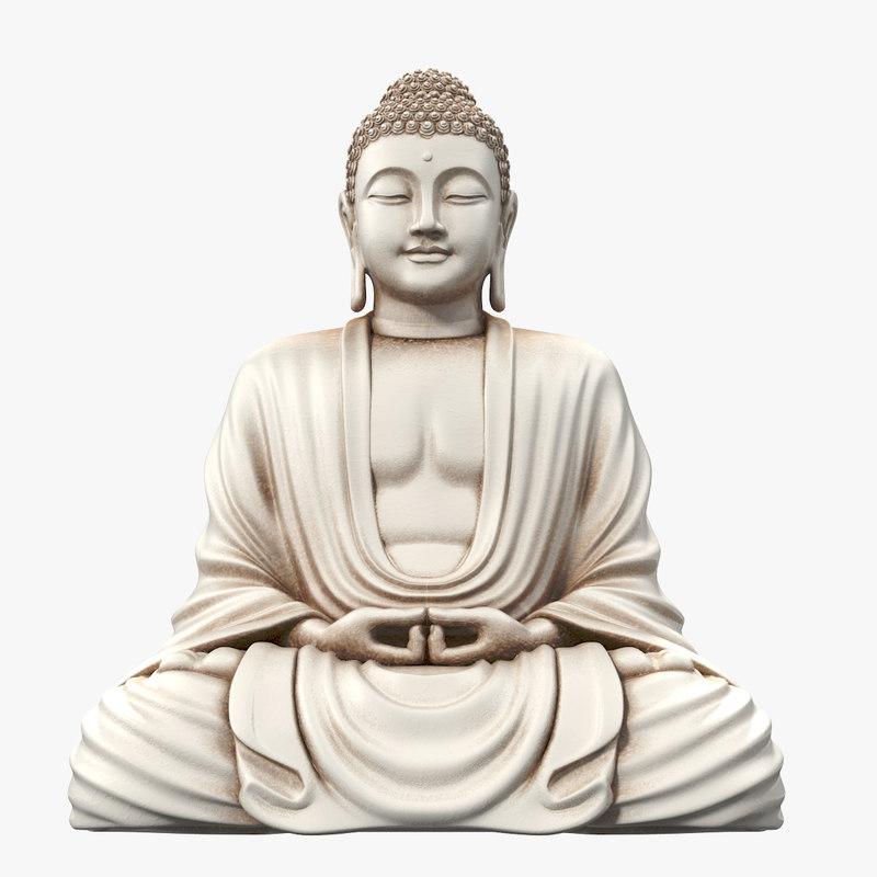 3d model of white sitting buddha statue