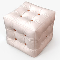 3d pouf white leather