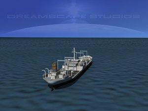 3d 3ds oil tanker ship 1940s