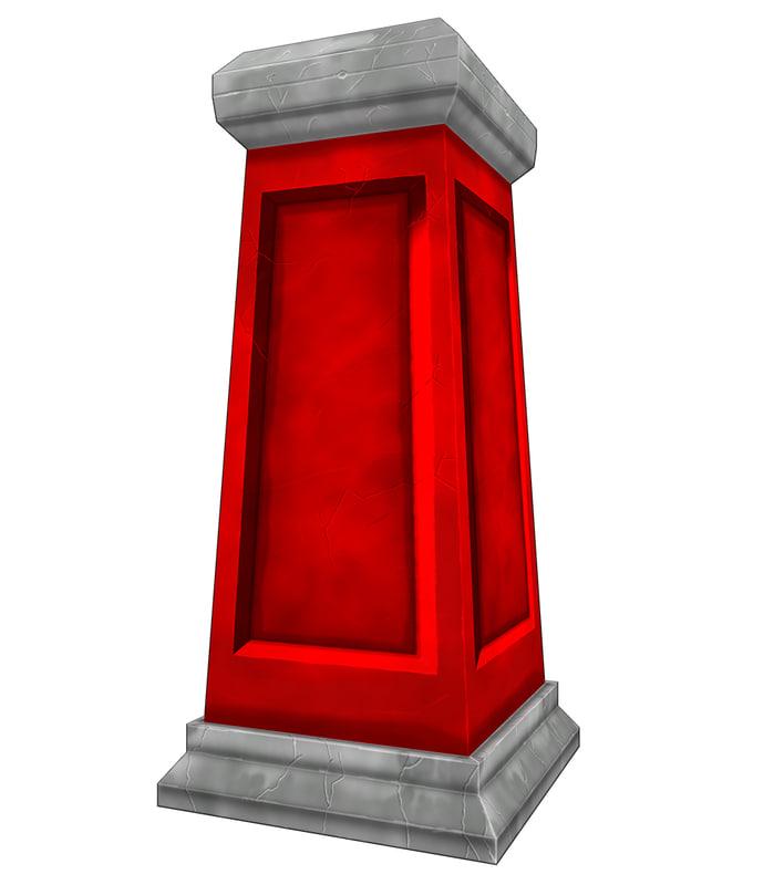 obj asset stone pillar handpainted